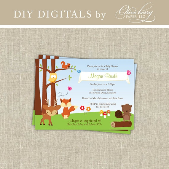 woodland baby shower invitation by oliveberrydigitals on etsy
