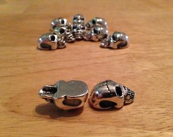 10 pcs Paracord Bracelet Lanyard Necklace Metal Biker Skull Beads Charms