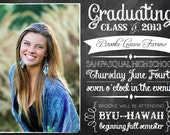 Chalkboard Graduation Announcement - 5 x 7 Printable