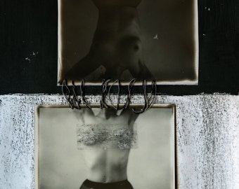 "Photography Fine Art Print ""Sister Midnight Sister Noon"" Polaroid Portrait Mixed Media Black and White Diptych"