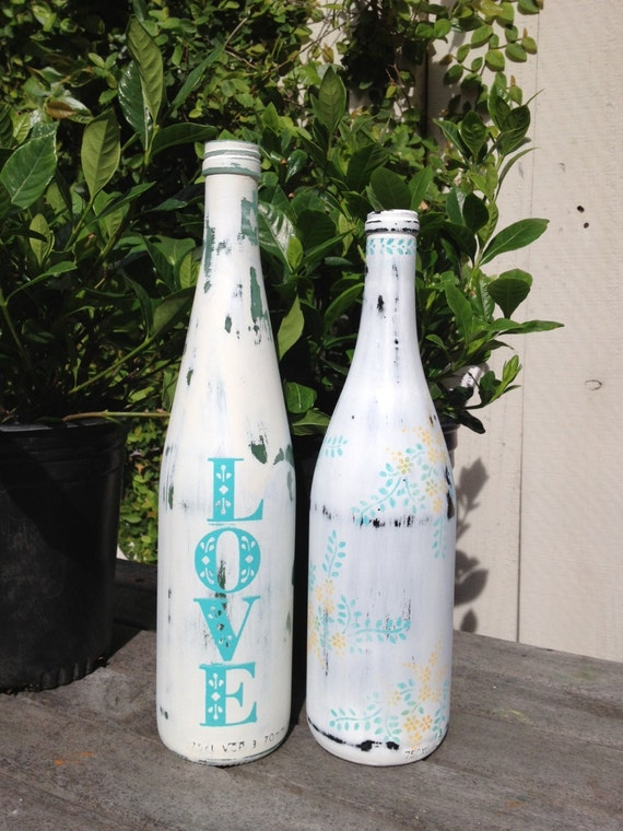 Items similar to painted wine bottles love and flowers for Painting flowers on wine bottles
