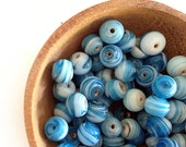 50 Pcs Sky Blue Glass Lampwork Beads, Round 8.5 mm, Blue and White, Jewelry Making Parts, DIY Supplies - HabitHobby