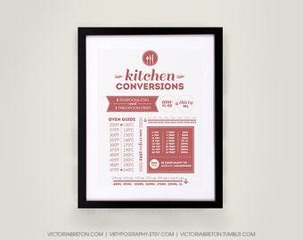 Kitchen Conversions - 11x17 typography print - kitchen measurements print, kitchen decor, house warming, conversions chart
