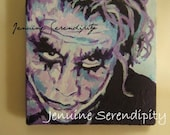 3x3 inch canvas acrylic miniatureJoker original painting  OOAK