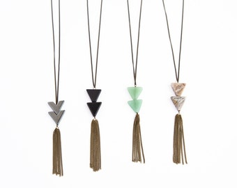 Triangle Tassel Necklace // Bohemian Fringe // Long Simple Tassel Necklace with Chain Fringe // Extra Long Necklace Option