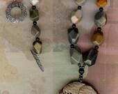 Looking Up - Large Succor Creek Jasper Dog Pendant, Faceted SC Jasper, Onyx, Sterling Silver Necklace