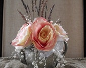 Beautiful vintage silver teapot arrangement, peachy/pink roses, pearls and tulle