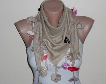 light brown scarf  cream  flower red blue lilac cotton turkish yemeni oya handmade turkish scarves
