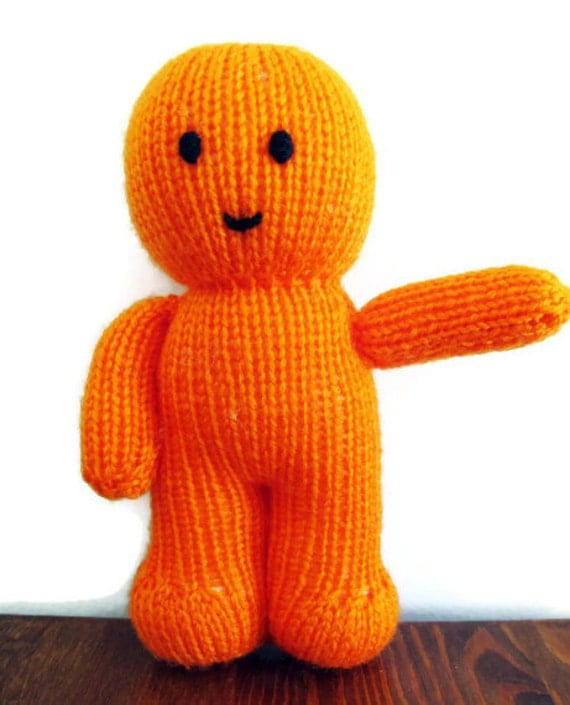 Knitting Pattern For Jelly Babies : Orange Knitted Jelly Baby Toy