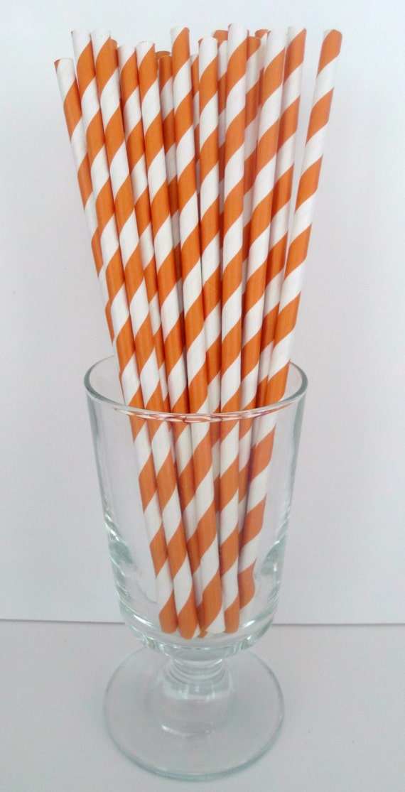 Orange Striped Paper Straws 25 Orange Stripe Paper Straws