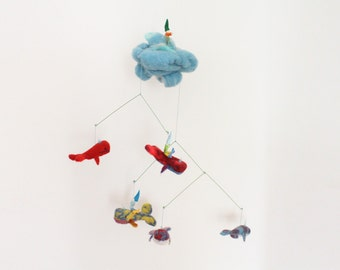 Nursery Mobile Playscape with needle felted Whales and Magic Gnomes, baby mobile, whales ornament, new year decor, waldorf sculpture, hanger