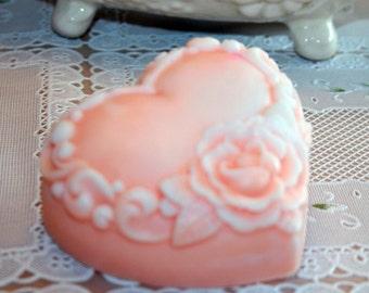 Cameo Pink Heart Soap Vegan Friendly Vegetable Based