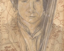 The Hobbit Inspired 8 X 8 Print. Artwork by Jade Jones