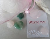 Five gemstone hearts, Worry not hearts, Valentine worry not hearts, Valentine gift, pocket reminder