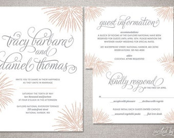 "Firework Inspired ""Tracy"" Wedding Invitation Suite - Whimsy Modern Calligraphy Script Invitations - DIY Digital Printable or Printed Invite"