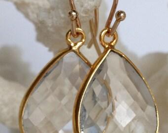 Natural Rock Crystal Bezel Set Gemstone Earrings, Drop Earrings, Bridal Jewelry, Bridesmaids Jewelry