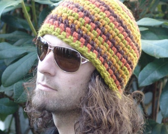 Mens Chunky Beanie Hat Soft Wool Blend  Multi-Striped Earthtone in Orange, Green, Brown