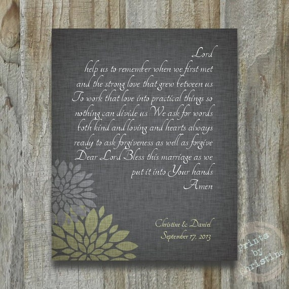Wedding Gift Personalized Marriage BLESSING Prayer Custom Art