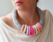 Neon Necklace, Fluo Jewelry, Multicolored Necklace, Pink Necklace