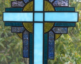 Stained Glass Cross Suncatcher, Turquoise Blue  #105