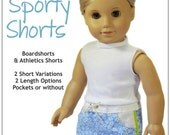 Pixie Faire Doll Tag Clothing Sporty Shorts Doll Clothes Pattern for 18 inch American Girl Dolls - PDF