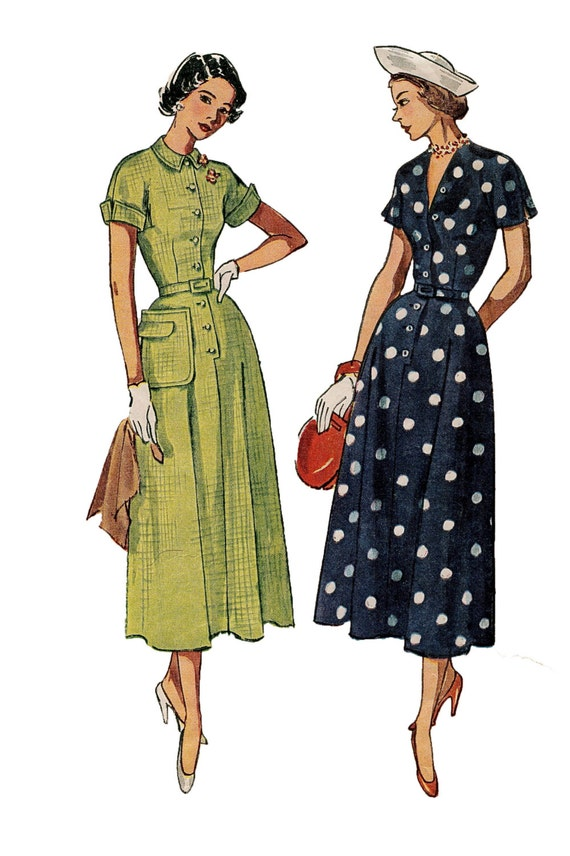 1940s Simplicity 2903 Dress with Kimono Sleeved Bodice, Flared skirt and Great Looking Pocket  - Size 18, Bust 36