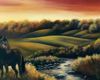 Standing Magestic Under a Red Sky, fine art giclee reproduction, western landscape, original art