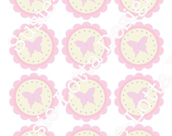 Butterfly Party Theme - Scalloped Cupcake Topper - Printable PDF