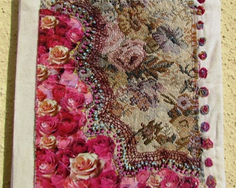 LITTLE ROSES, hand embroidery, mixed media, wall hanging, home decor, OOAK