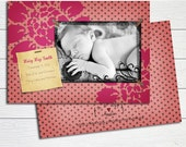Baby Girl Birth Announcement Photo Card - Personalized announcement pink flowers polka dots photo card