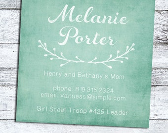 Mommy Cards, business cards, Mommy Calling Card, Playdate cards set of 50 with laurel, choose your color