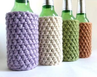 Crochet Koozie : Crochet Bottle Koozie, Crochet Bott le Cozy, Crochet Koozie - Lilac ...