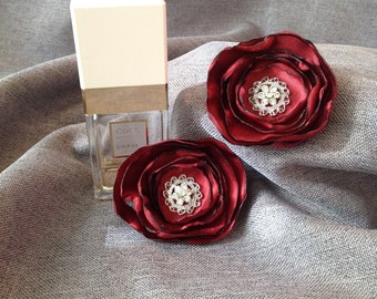 Set of Two Rose Hair Clips or Shoe Clips