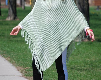 JADE GREEN Poncho. Summer Fall Jacket, Sweater, Cardigan Alternative. OOAK. Hand Knitted Fashion Garment.