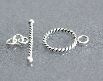 20 of Bali Sterling Silver Twisted Toggle Clasp 12.5 mm outer loop with Jump Rings C3027