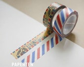 Airmail Postage Stamp Washi Tapes - Packaging - Gift Wrap - Red Blue Decorative Tape - 2 Rolls (Item code: W548)