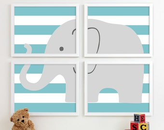 Childrens Art for Kids Wall Art, Jungle Baby Nursery Decor, Safari Animal Nursery Art, Elephant Nursery Wall Art Playroom