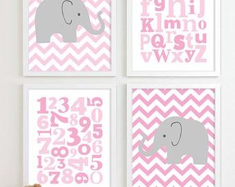 Baby Girl Nursery Art Chevron Elephant Nursery Prints, Kids Wall Art Baby Girls Art, Baby Pink Nursery Decor ABC Alphabet Art Numbers Art