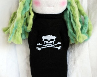 "SALE- Waldorf Doll: Surfer Girl Lana, Hangin' About Waldorf Sock Doll with Hands in Pocket, Skull Dress & Hat, 14"" Tall, OOAK"
