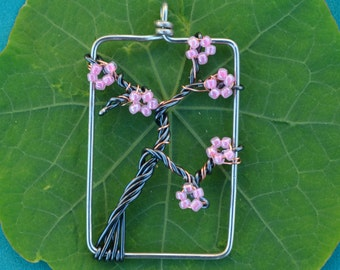 medium cherry blossom branch pendant (rectangular frame)