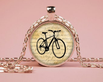 Bicycle Pendant Necklace or Keyring Glass Art Print Jewelry Bike Cycle Charm Gifts for Her or Him