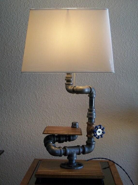 Industrial Table Desk Black Pipe And Hardwood Display Shelf