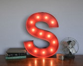 Vintage Inspired Marquee Light- Letter S, home decor, lighted letter, marquee letter, marquee light, letter, vintage, initial, wall art