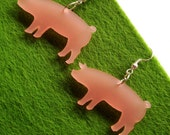 fabulous pink perspex piggy earrings
