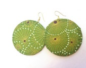 African jewelry large round fabric covered earrings green and gold