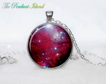 NEBULA Pendant Galaxy  the Christmas Tree star cluster and the Cone Nebula  Silver Jewelry Necklace for him  Art Gifts for Her