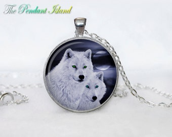 WOLF Pendant wolf necklace wolf couple wolf jewelry Loyalty necklace Loyalty pendant wolves jewelry (P2008)