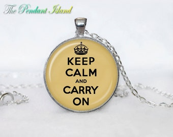 Keep calm and carry on necklace keep calm and carry on necklace keep calm and carry on pendant for men for her for women colorfull black