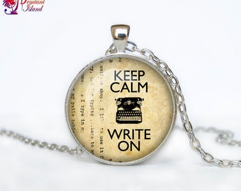 Old Typewriter necklace Old Typewriter pendant Old Typewriter jewelry Keep Calm