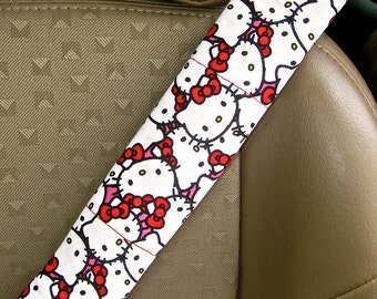 Seat Belt Cover-  Hello Kitty with Reversible Red Minky or Pink Minky.